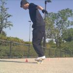 【フリーラインスケート】パイロンを使ったブラインドワンエイティの連続技!
